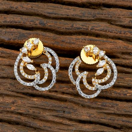 409476 CZ Chand Earring with 2 tone plating