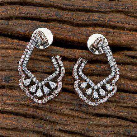409483 CZ Chand Earring with black rose plating