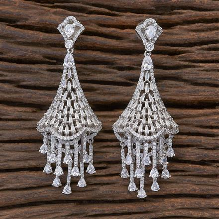 409496 CZ Classic Earring with rhodium plating