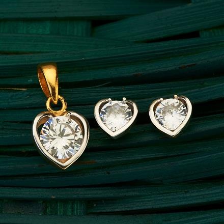 409601 CZ Delicate Pendant set with 2 tone plating