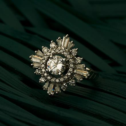 409690 Cz Classic Ring With Rhodium Plating