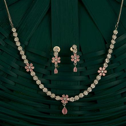 409709 Cz Classic Necklace With Rhodium Plating