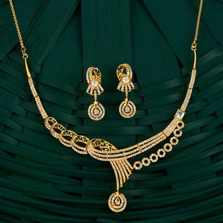 409711 Cz Classic Necklace With Gold Plating