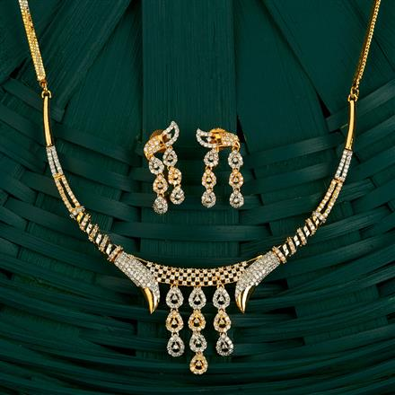 409714 Cz Classic Necklace With 2 Tone Plating