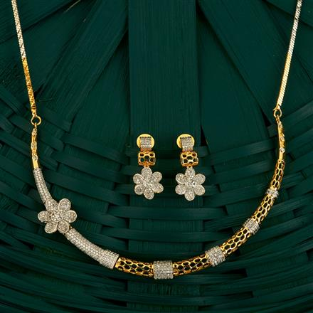 409745 Cz Classic Necklace With 2 Tone Plating