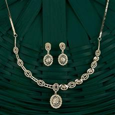 409746 Cz Classic Necklace With Rhodium Plating