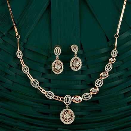 409747 Cz Classic Necklace With Rose Gold Plating