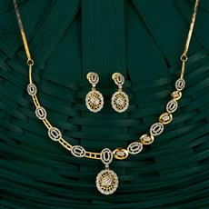 409748 Cz Classic Necklace With 2 Tone Plating