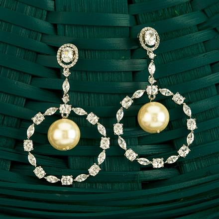 409843 Cz Classic Earring With Rhodium Plating