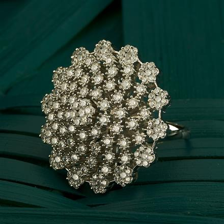 409847 Cz Classic Ring With Rhodium Plating