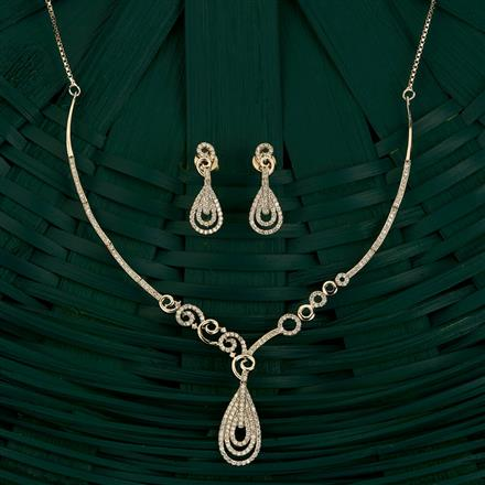 409864 Cz Classic Necklace With Rhodium Plating