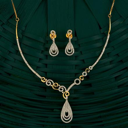 409865 Cz Classic Necklace With 2 Tone Plating