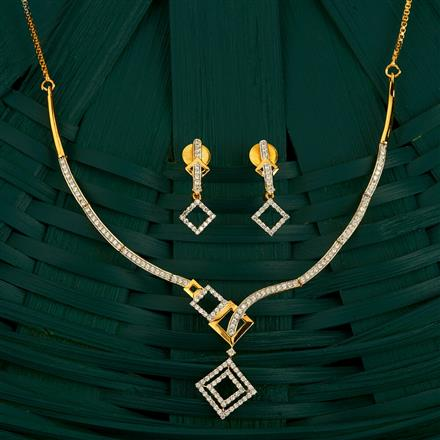 409868 Cz Classic Necklace With 2 Tone Plating