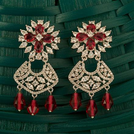409983 Cz Classic Earring With Rhodium Plating