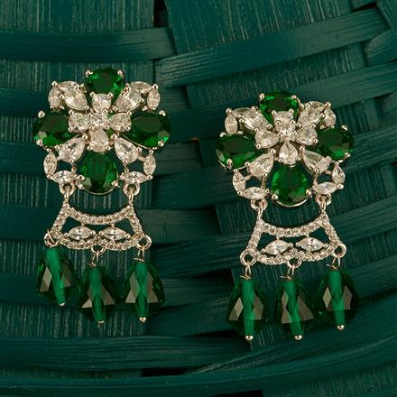 409985 Cz Classic Earring With Rhodium Plating