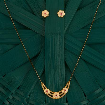 410005 Cz Classic Mangalsutra With Gold Plating
