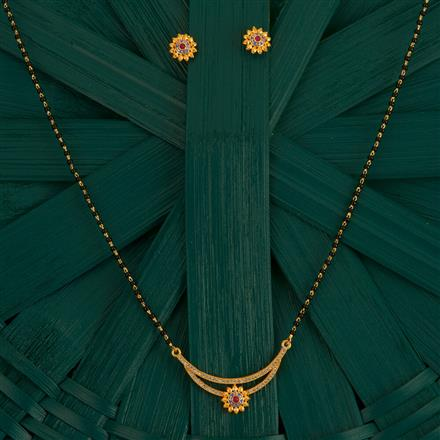 410006 Cz Classic Mangalsutra With Gold Plating
