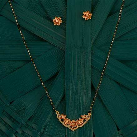 410007 Cz Classic Mangalsutra With Gold Plating