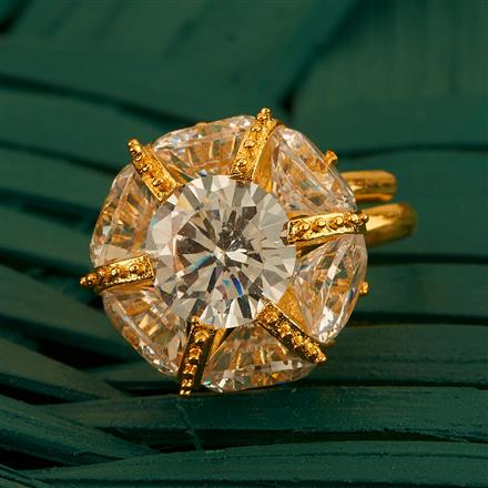 410050 Cz Classic Ring With Gold Plating