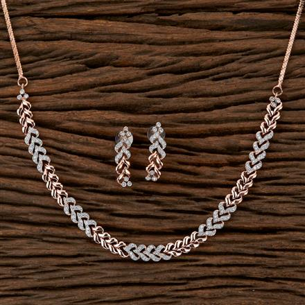410075 Cz Delicate Necklace With Rose Gold Plating