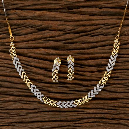 410077 Cz Delicate Necklace With 2 Tone Plating