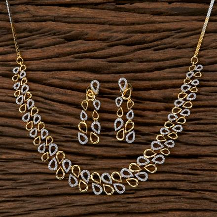 410080 Cz Delicate Necklace With 2 Tone Plating