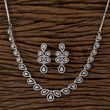 410114 Cz Classic Necklace With Rhodium Plating