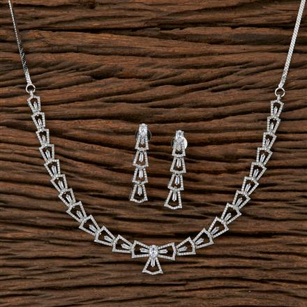 410118 Cz Classic Necklace With Rhodium Plating