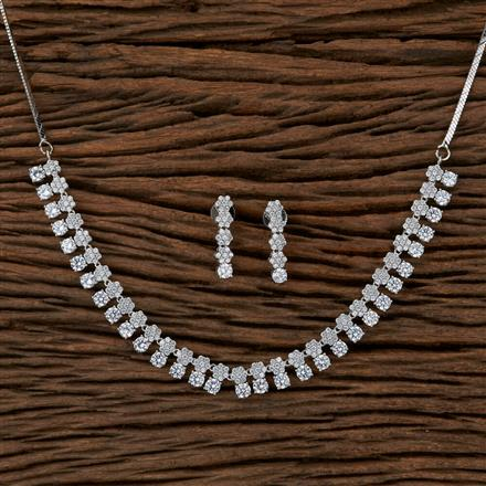410121 Cz Classic Necklace With Rhodium Plating