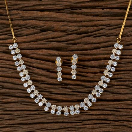 410122 Cz Classic Necklace With 2 Tone Plating