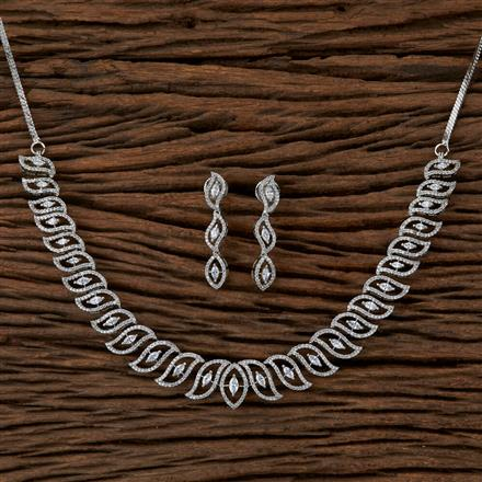 410124 Cz Classic Necklace With Rhodium Plating