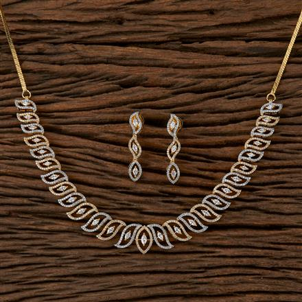 410125 Cz Classic Necklace With 2 Tone Plating