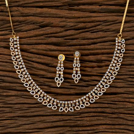410126 Cz Classic Necklace With 2 Tone Plating