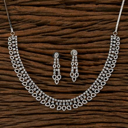 410127 Cz Classic Necklace With Rhodium Plating