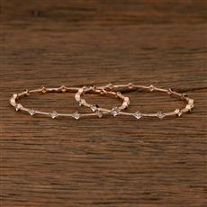 410149 Cz Delicate Bangles With Rose Gold Plating