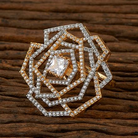 410162 Cz Classic Ring With 2 Tone Plating
