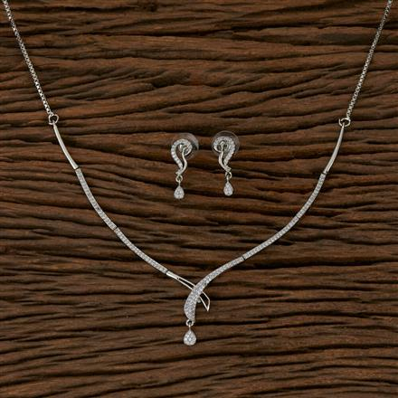 410200 Cz Delicate Necklace with Rhodium Plating