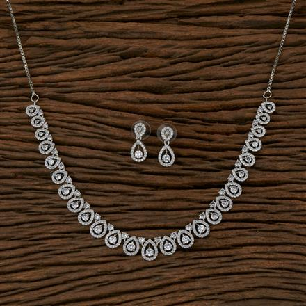 410208 Cz Delicate Necklace with Rhodium Plating
