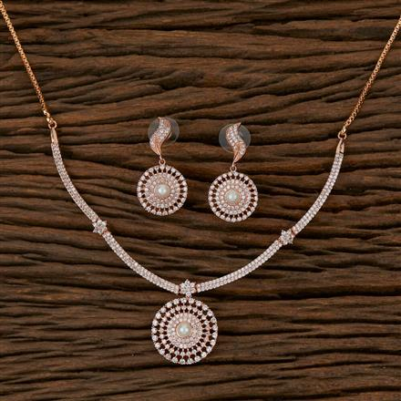 410213 Cz Delicate Necklace with Rose Gold Plating