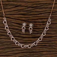 410225 Cz Delicate Necklace with Rose Gold Plating