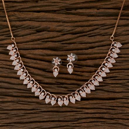 410231 Cz Delicate Necklace with Rose Gold Plating