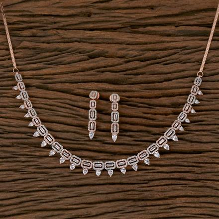 410251 Cz Classic Necklace with Rose Gold Plating