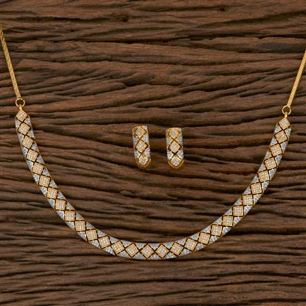 410255 Cz Classic Necklace with 2 Tone Plating