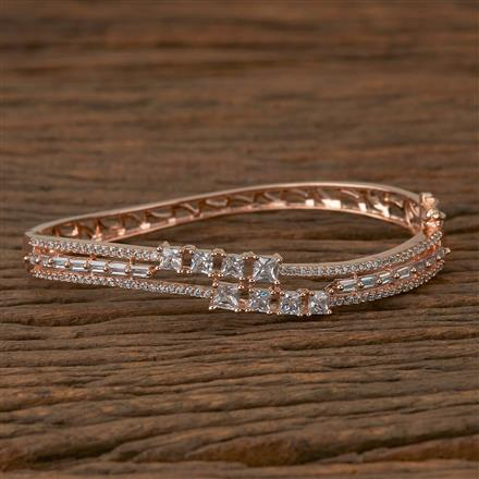 410278 Cz Delicate Kada with Rose Gold Plating