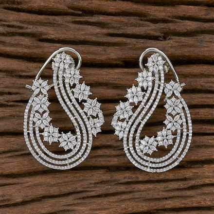 410357 Cz Chand Earring With Rhodium Plating