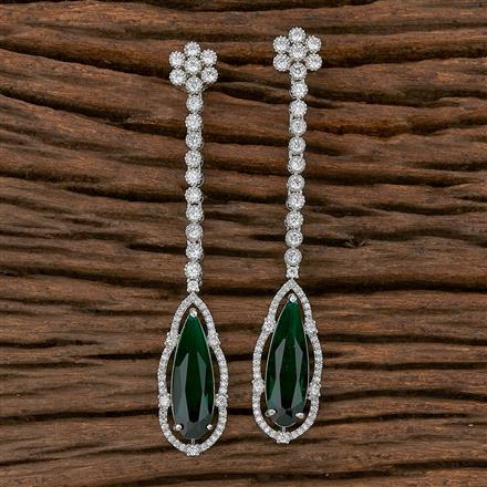 410358 Cz Long Earring With Rhodium Plating