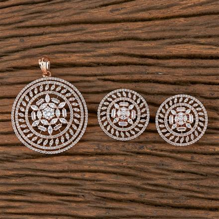 410361 Cz Classic Pendant Set With Rose Gold Plating