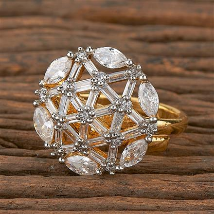 410367 Cz Delicate Ring With 2 Tone Plating