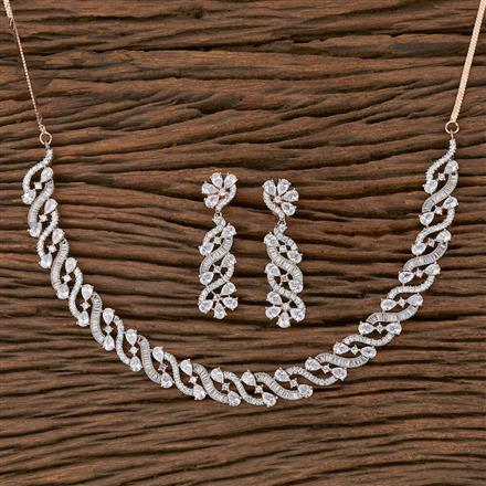 410371 Cz Classic Necklace With Rose Gold Plating