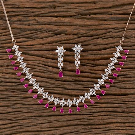 410373 Cz Classic Necklace With Rose Gold Plating